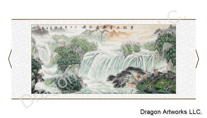 Chinese Landscape Painting of Pine Trees and Waterfall