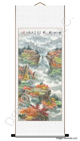 Chinese Landscape Painting of a Peaceful Mountain River