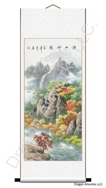 Mountain Landscape Painting of Approaching Autumn Season
