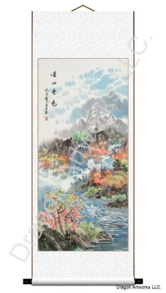 Blue Mountain Stream Chinese Landscape Painting