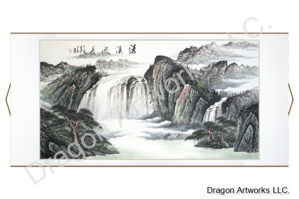 Chinese Black Ink Landscape Painting Yellow Mountain Waterfall