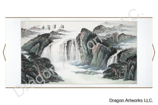 Horizontal Oriented Chinese Mountain Landscape Painting