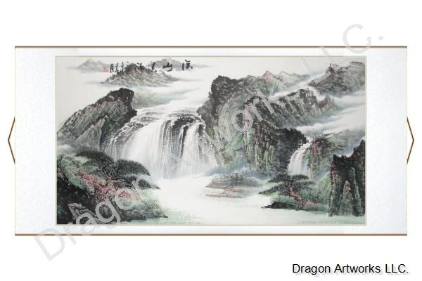 Horizontal Landscape Painting of Mountain Waterfall