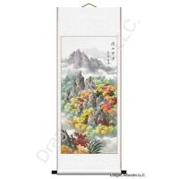 Chinese Landscape Painting Mounted on a Vertical Wall Scroll