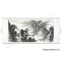 Horizontal Black Ink Landscape Painting of Yellow Mountains