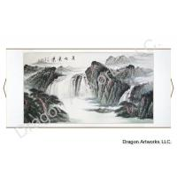 Chinese Landscape Painting Mounted on Horizontal Wall Scroll