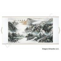 Very Large Horizontal Mountain Waterfalls Landscape Painting