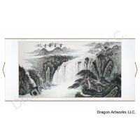 Horizontal Chinese Landscape Painting of Waterfall Scenery