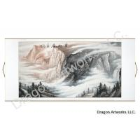 Horizontal Landscape Painting of Misty Mountain Scene